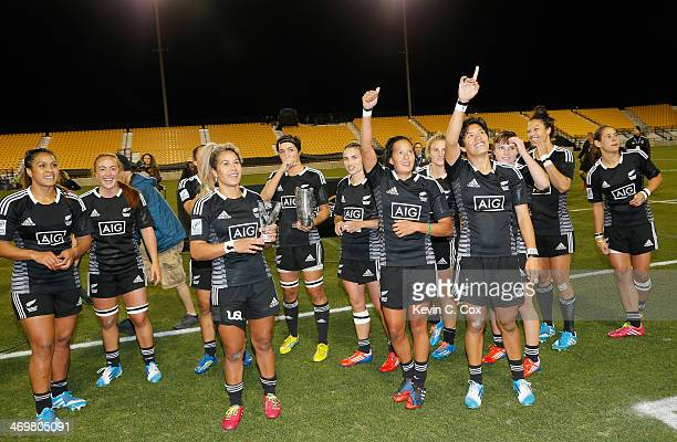 New Zealand celebrates their 360 win over Canada in the Women's Sevens World Series at Fifth Third Bank Stadium on February 16 2014 in Kennesaw...