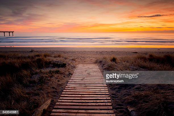 New Zealand, Christchurch, Beach at sunset