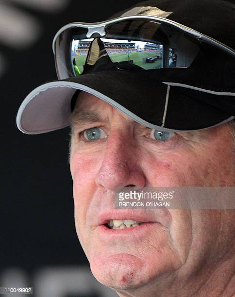 New Zealand coach John Wright watches his team play against Pakistan during their third Twenty20 international cricket match at the AMI Stadium in...