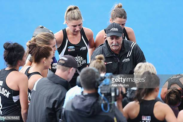 New Zealand coach Mark Hager during the FIH Women's Hockey Champions Trophy match between New Zealand and USA at Queen Elizabeth Olympic Park on June...