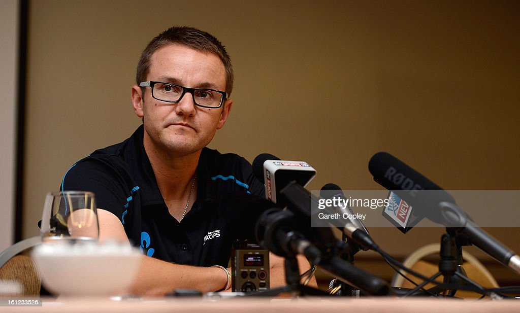 New Zealand coach Mike Hesson speaks to the media during an press conference at the team hotel on February 10, 2013 in Auckland, New Zealand.