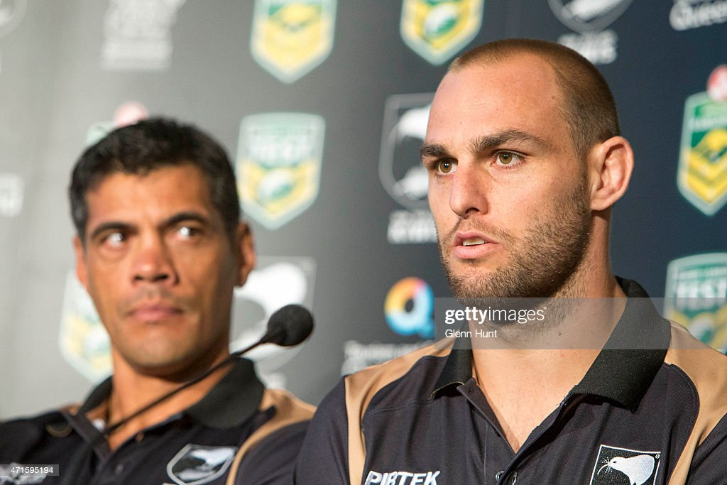 New Zealand coach Stephen Kearney and captain Simon Mannering speak to the media ahead of the international Test match during a press conference at Suncorp Stadium on April 30, 2015 in Brisbane, Australia.