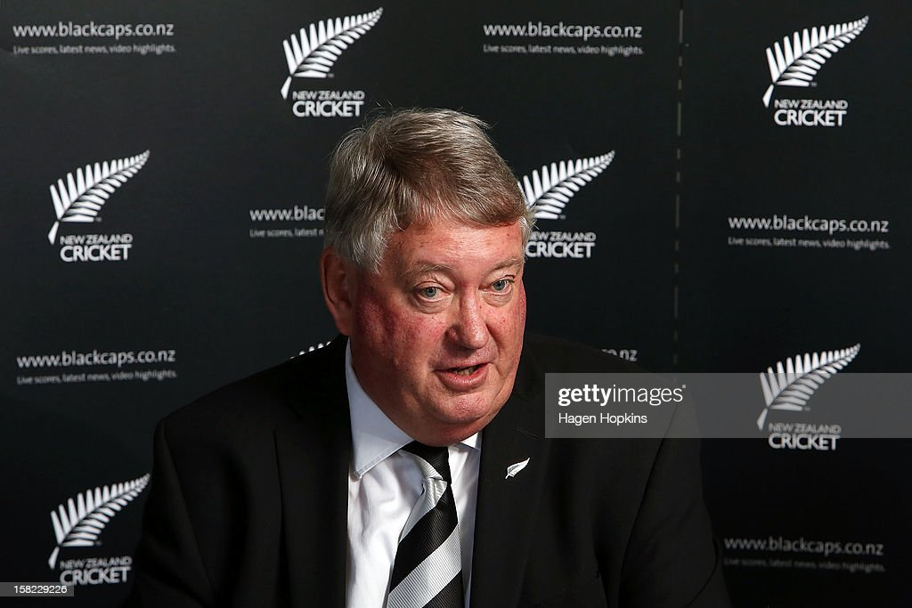 New Zealand Cricket Board Chairman Chris Moller speaks to media during a New Zealand cricket media opportunity at Basin Reserve on December 12, 2012 in Wellington, New Zealand.