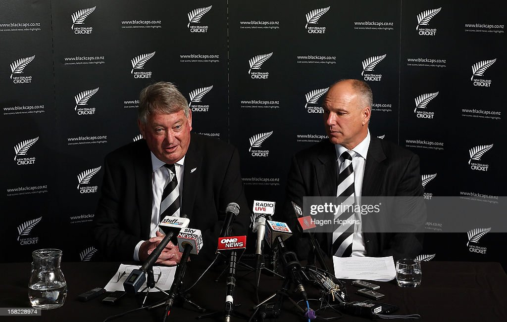 New Zealand Cricket Board Chairman Chris Moller speaks to media while CEO David White looks on during a New Zealand cricket media opportunity at Basin Reserve on December 12, 2012 in Wellington, New Zealand.