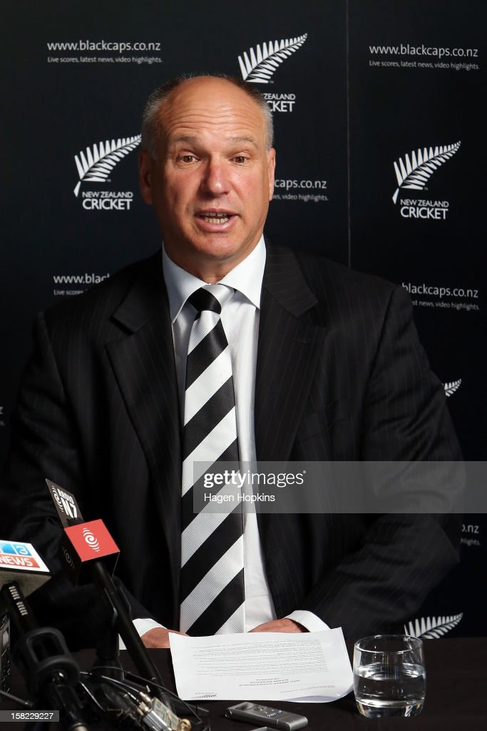 New Zealand Cricket CEO David White speaks to media during a New Zealand cricket media opportunity at Basin Reserve on December 12, 2012 in Wellington, New Zealand.
