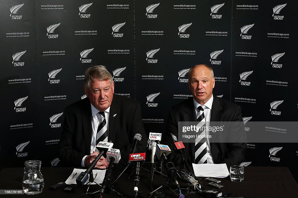 New Zealand Cricket CEO David White speaks to media while Board Chairman Chris Moller looks on during a New Zealand cricket media opportunity at Basin Reserve on December 12, 2012 in Wellington, New Zealand.