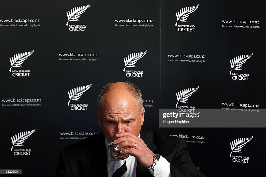 New Zealand Cricket CEO David White takes a drink of water during a New Zealand cricket media opportunity at Basin Reserve on December 12, 2012 in Wellington, New Zealand.