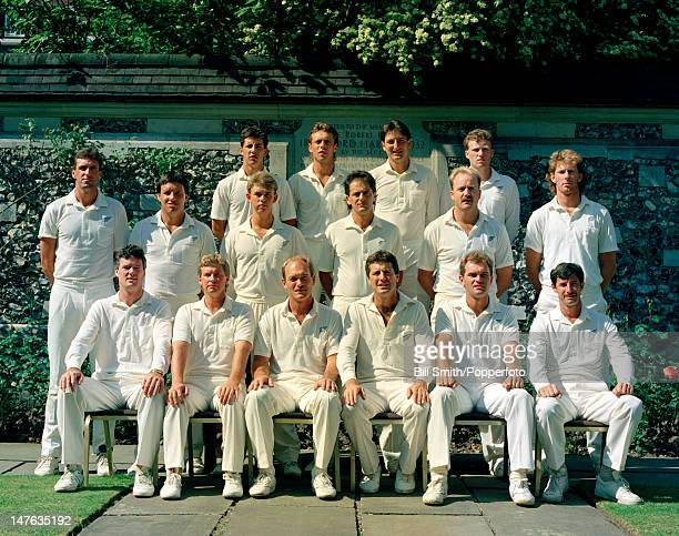 New Zealand cricket team at Lord's cricket ground in London 7th May 1990 Back row Adam Parore Danny Morrison Ken Rutherford Mark Priest Middle row...