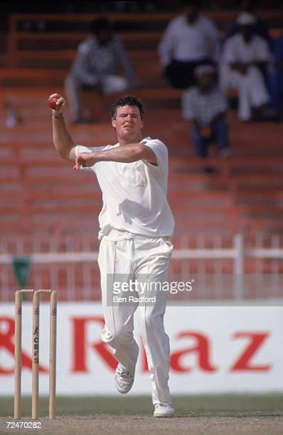New Zealand cricketer John Bracewell bowling at the Sharjah Cricket Association Stadium United Arab Emirates 1990