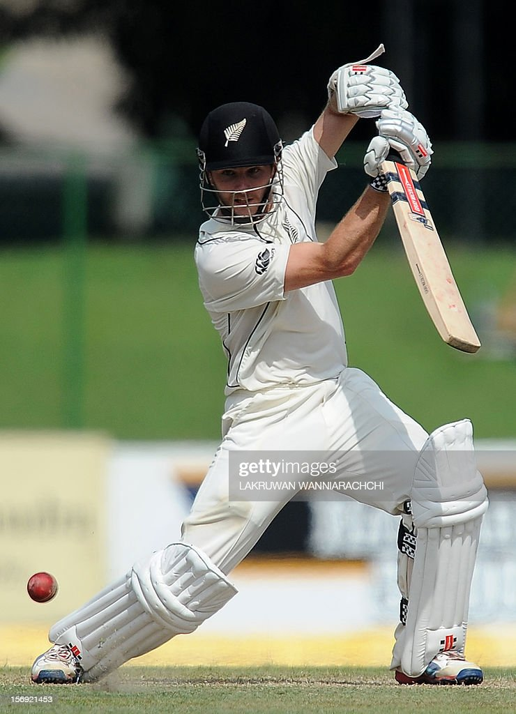 New Zealand cricketer Kane Williamson plays a shot during the first day of the second and final Test match between Sri Lanka and New Zealand at the P. Sara Oval Cricket Stadium in Colombo on November 25, 2012.