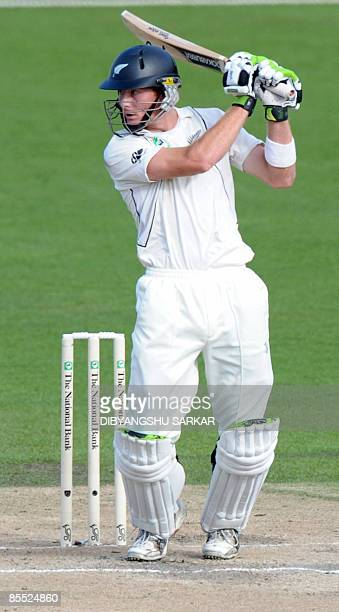 New Zealand cricketer Martin Guptill plays a shot during the third day of the first Test match between India and New Zealand at the Seddon Park...