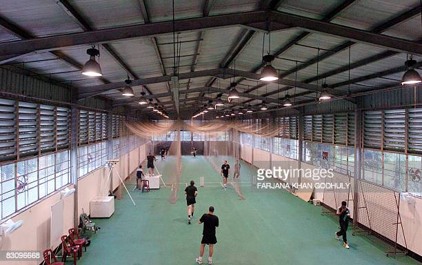 New Zealand cricketers practice indoor at Shere Bangla Nagar Cricket Stadium in Dhaka on October 3 2008 The New Zealand cricket team will play three...