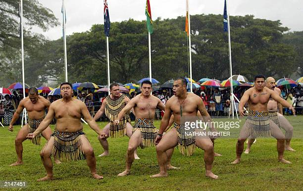 New Zealand Defence Force personnel perform a traditional Maori haka during a ceremony in Arawa marking the withdrawal of peacekeepers from the...