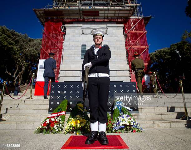 New Zealand defense force personal stand guard at the Tomb of the Unknown Warrior during the National ANZAC Day Commemorative Service at the National...