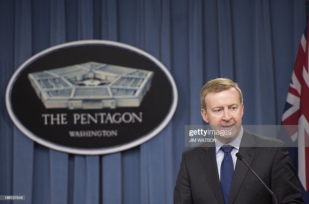 New Zealand Defense Minister Jonathan Coleman speaks during a press conference with US Defense Secretary Chuck Hagel (not seen) at the Pentagon in Washington, DC, October 28, 2013. AFP PHOTO / Jim WATSON
