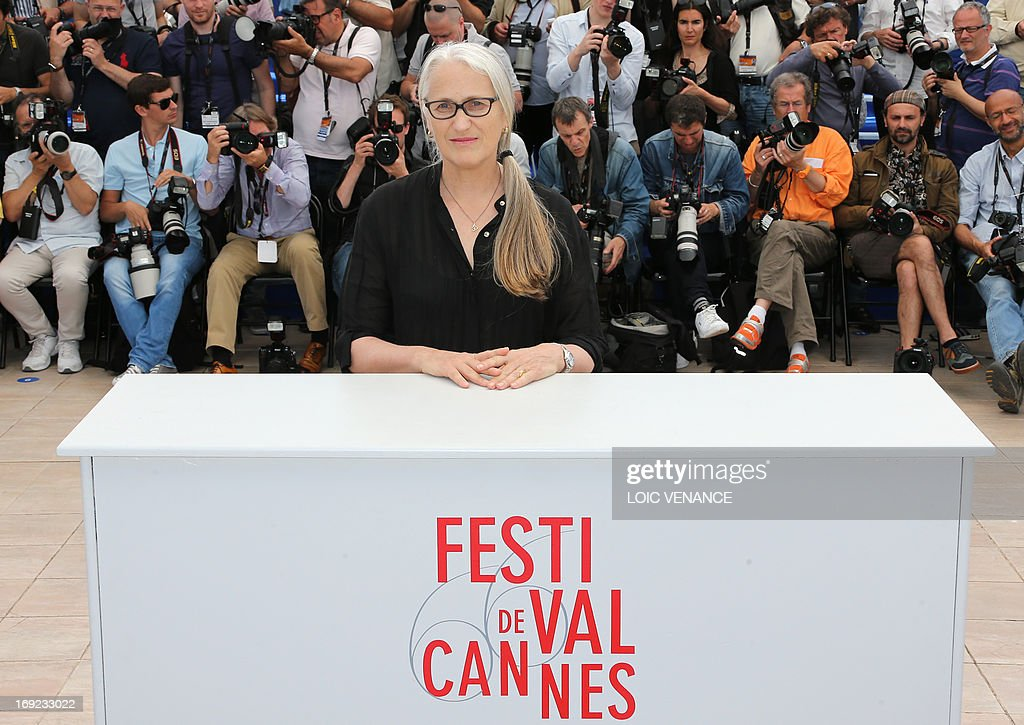New Zealand director and Jury President Jane Campion poses on May 22, 2013 during a photocall for the Cinefondation and Short Films Jury at the 66th edition of the Cannes Film Festival in Cannes. Cannes, one of the world's top film festivals, opened on May 15 and will climax on May 26 with awards selected by a jury headed this year by Hollywood legend Steven Spielberg. AFP PHOTO / LOIC VENANCE