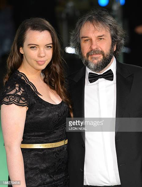 New Zealand director Peter Jackson poses with his daughter Katie as they arrive at the European premiere of the first in the new trilogy of films...