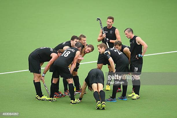 New Zealand discuss tactics during the Men's SemiFinal match between New Zealand and India at Glasgow National Hockey Centre during day ten of the...