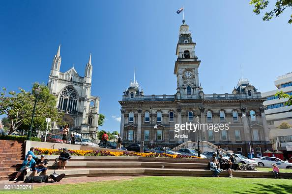Dunedin city of the Otago Region in the South Island St Paul's Cathedral and the city hall