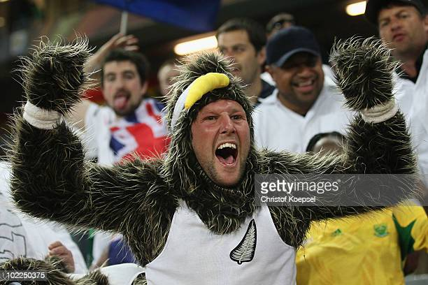 New Zealand fan celebrates after a draw in the 2010 FIFA World Cup South Africa Group F match between Italy and New Zealand at the Mbombela Stadium...