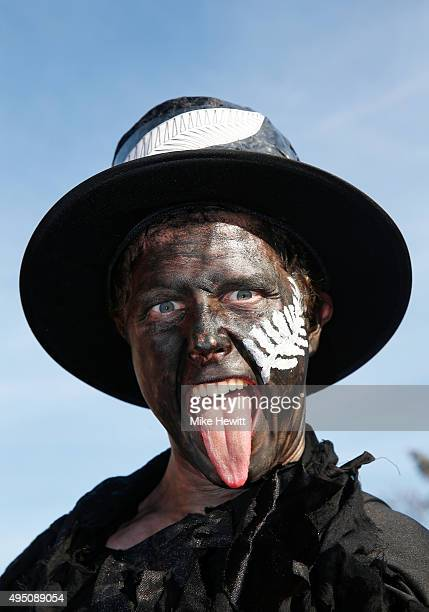 New Zealand fan enjoys the build up at the 2015 Rugby World Cup Final match between New Zealand and Australia at Twickenham Stadium on October 31...