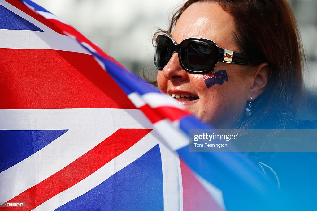 A New Zealand fan watches the Men's Giant Slalom Sitting during day eight of the Sochi 2014 Paralympic Winter Games at Rosa Khutor Alpine Center on March 15, 2014 in Sochi, Russia.