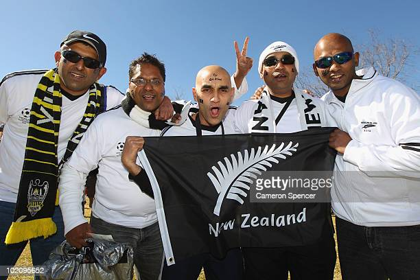 New Zealand fans cheer ahead of the 2010 FIFA World Cup South Africa Group F match between New Zealand and Slovakia at the Royal Bafokeng Stadium on...