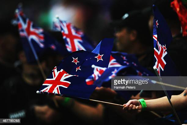 New Zealand fans cheer on their team during the cup final match between New Zealand and South Africa at Westpac Stadium on February 8 2014 in...