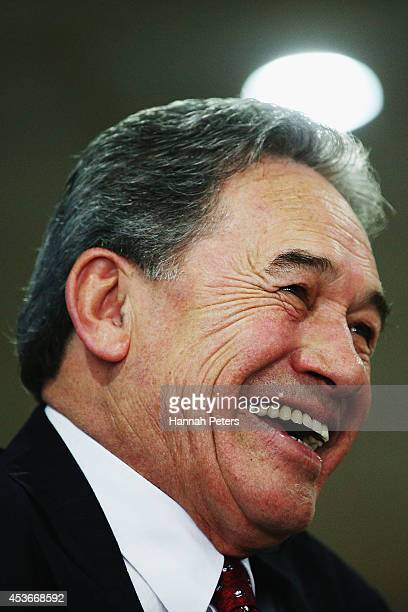 New Zealand First Leader Winston Peters addresses the public at a meeting in Panmure Yacht Club August 16 2014 in Auckland New Zealand These public...