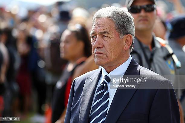 New Zealand First leader Winston Peters arrives at the Te Tii Waitangi Marae on February 5 2015 in Paihia New Zealand The Waitangi Day national...