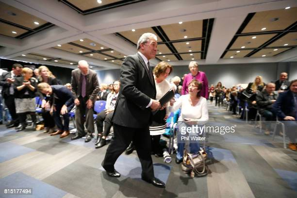 New Zealand First Leader Winston Peters arrives for the 2017 New Zealand First Convention at the Vodafone Events Centre Manukau on July 16 2017 in...