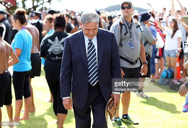 New Zealand First leader Winston Peters is seen at the Te Tii Waitangi Marae on February 5 2015 in Paihia New Zealand The Waitangi Day national...