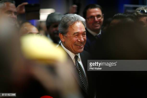 New Zealand First Leader Winston Peters leaves the 2017 New Zealand First Convention at the Vodafone Events Centre Manukau on July 16 2017 in...
