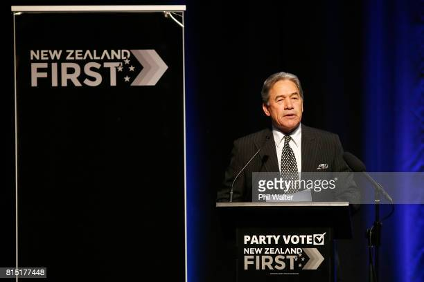 New Zealand First Leader Winston Peters speaks at the 2017 New Zealand First Convention at the Vodafone Events Centre Manukau on July 16 2017 in...