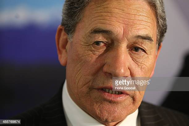 New Zealand First Leader Winston Peters speaks to media and supporters at the Spencer on Byron Hotel in Takapuna on September 20 2014 in Auckland New...