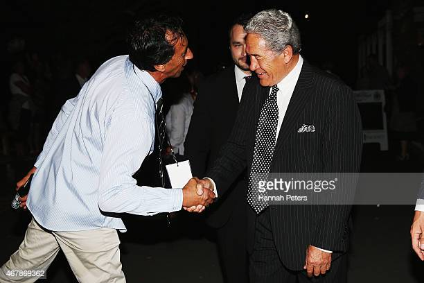 New Zealand First party leader Winston Peters arrives at The Duke Of Marlborough Hotel on March 28 2015 in Russell New Zealand Peters has won the...