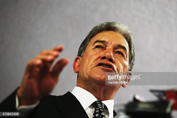 New Zealand First party leader Winston Peters delivers his Sate of the Nation speech at AMI Netball Stadium on February 21 2014 in Auckland New...
