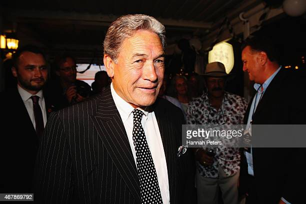 New Zealand First party leader Winston Peters is congratulated by supporters at The Duke Of Marlborough Hotel on March 28 2015 in Russell New Zealand...
