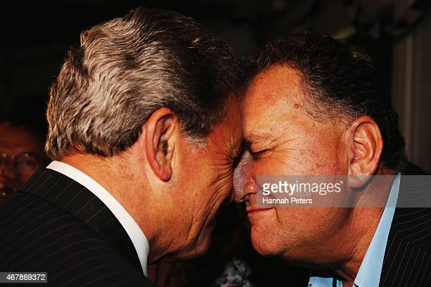 New Zealand First party leader Winston Peters is greeted by Ambassador for Pacific Economic Development Shane Jones at The Duke Of Marlborough Hotel...
