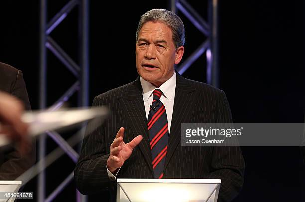 New Zealand First Party leader Winston Peters speaks during the TVNZ Multi Leaders Debate on September 5 2014 in Auckland New Zealand On September 20...