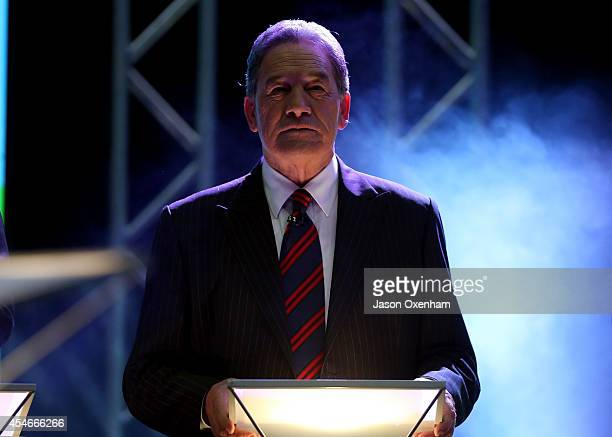 New Zealand First Party leader Winston Peters speaks in the TVNZ Multi Leaders Debate on September 5 2014 in Auckland New Zealand On September 20 New...