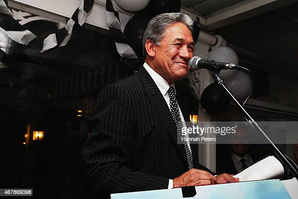 New Zealand First party leader Winston Peters speaks to supporters at The Duke Of Marlborough Hotel on March 28 2015 in Russell New Zealand Peters...