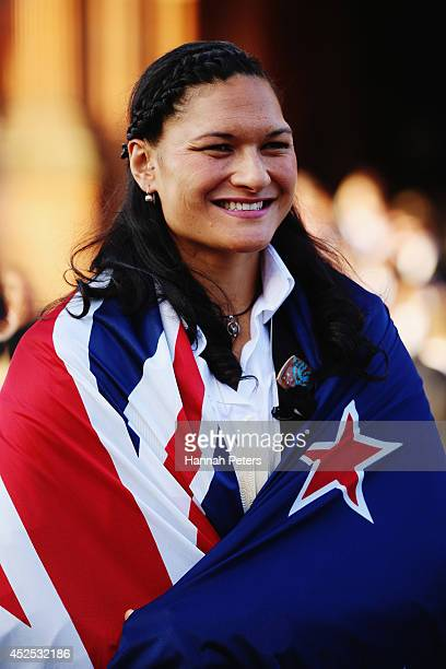 New Zealand flag bearer Valerie Adams poses for a photo at Kelvingrove Art Gallery on July 22 2014 in Glasgow Scotland