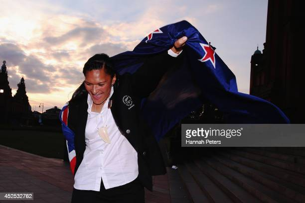 New Zealand flag bearer Valerie Adams poses for a photo following the New Zealand team function at Kelvingrove Art Gallery on July 22 2014 in Glasgow...