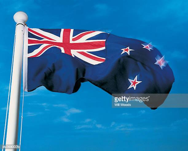 New Zealand flag waving in the wind