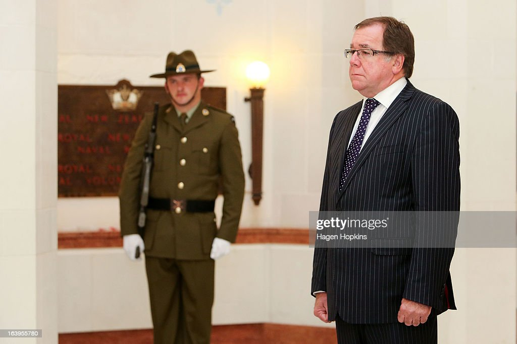 New Zealand Foreign Affairs Minister Murray McCully looks on during a wreath-laying ceremony to acknowledge both Afghan and New Zealand losses in Afghanistan at the National War Memorial on March 19, 2013 in Wellington, New Zealand. Afghan Foreign Minister Dr Zalmai Rassoul is on the second day of a two day visit to New Zealand for bilateral talks.