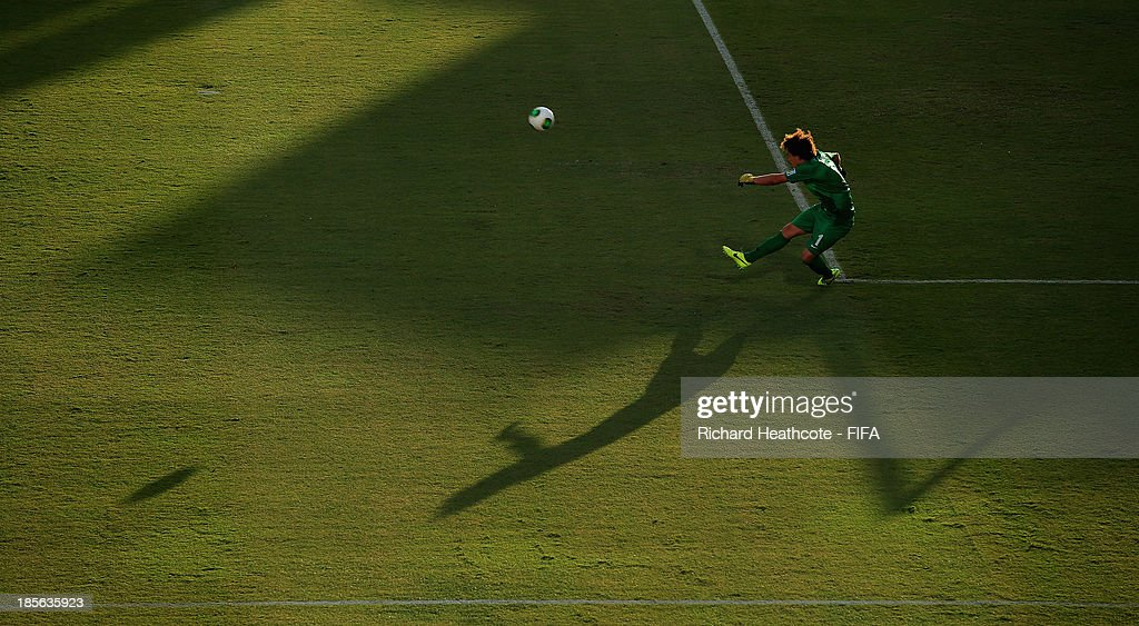 New Zealand goalkeeper Zac Speedy kicks out the ball during the FIFA U-17 World Cup UAE 2013 Group B match between New Zealand and Ivory Coast at the Mohamed Bin Zayed Stadium on October 23, 2013 in Abu Dhabi, United Arab Emirates.