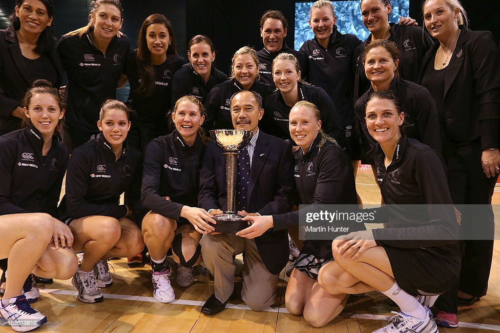 New Zealand Governor General Sir Jerry Mateparae (C) and the Silver Ferns pose with the Constellation Cup after the Constellation Cup match between the New Zealand Silver Ferns and the Australian Diamonds at CBS Canterbury Arena on September 23, 2012 in Christchurch, New Zealand.