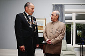 New Zealand GovernorGeneral Jerry Mateparae speaks with Indian President Pranab Mukherjee following a welcome ceremony at Government House in...