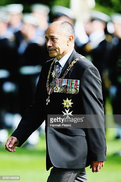 New Zealand GovernorGeneral Sir Jerry Mateparae arrives to welcome Indian President Shri Pranab Mukherjee during a ceremony of welcome at Government...